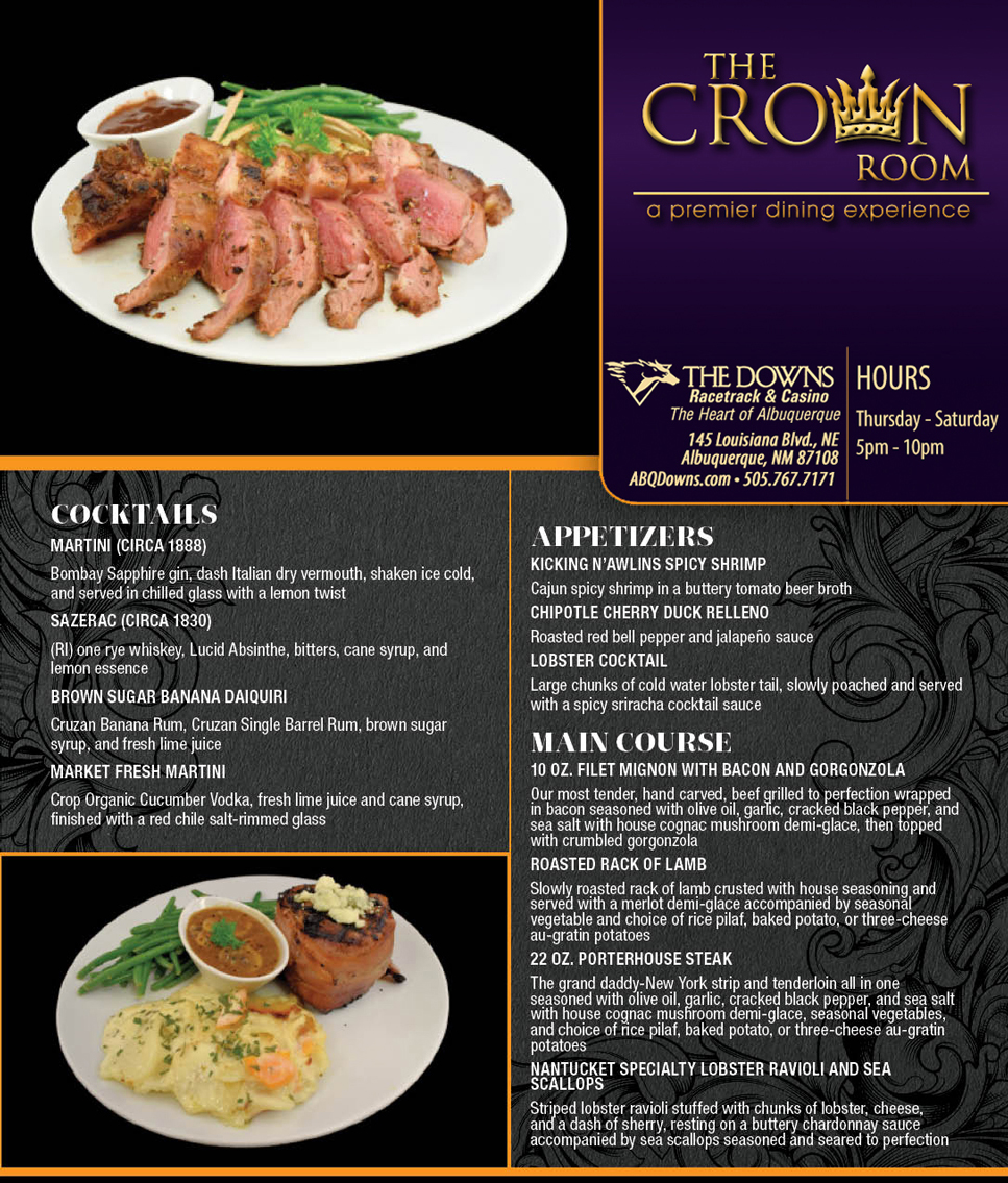 The Crown Room Menu